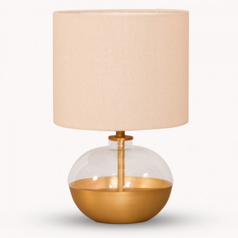 Derby Squat Glass And Iron Table Lamp With Shade