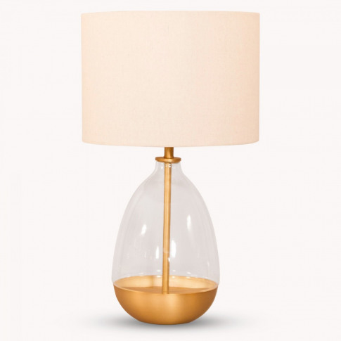 Derby Teardrop Glass and Iron Table Lamp with Shade
