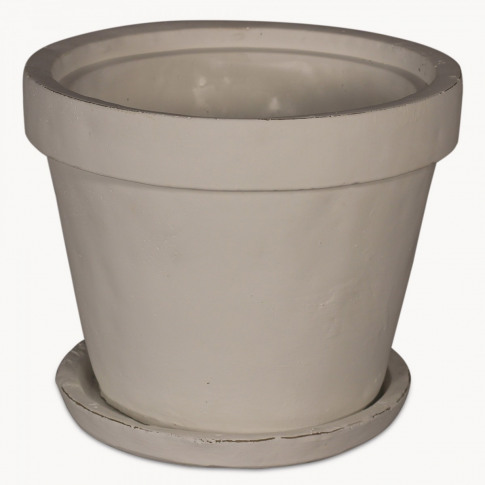 Birkdale Large White Stone Planter With Saucer