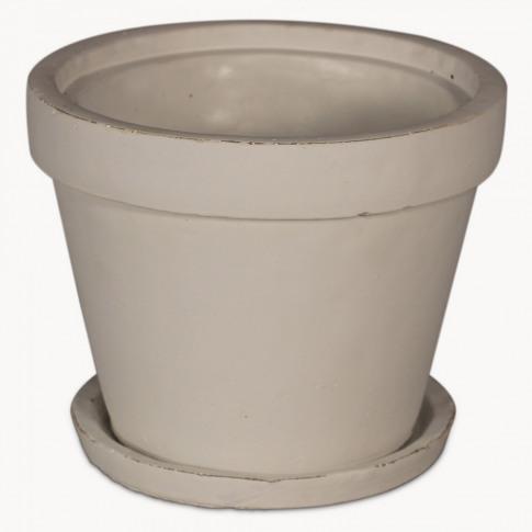 Birkdale Medium White Stone Planter With Saucer