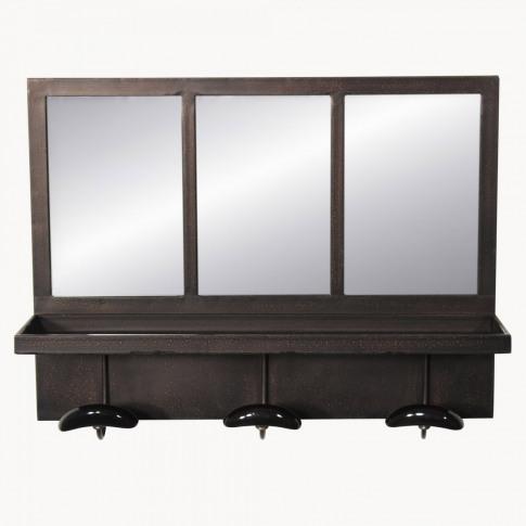 Fairfield Industrial Mirror Shelf With Hooks