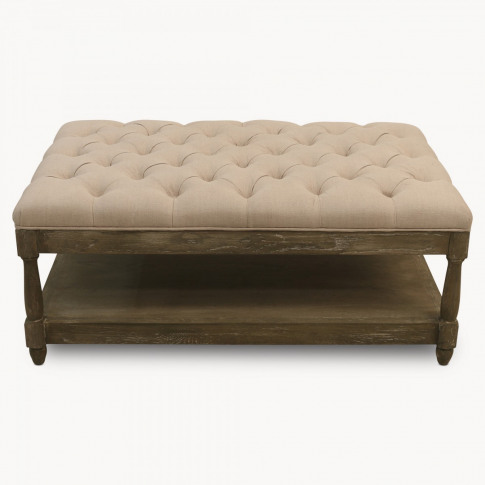 St James Beige Buttoned Coffee Table