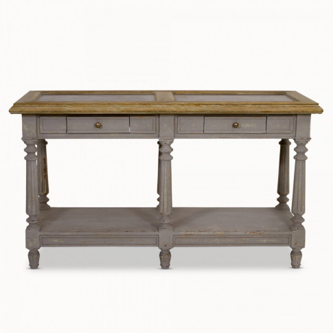 Woodcroft Small Grey Oak and Stone Top Console Table