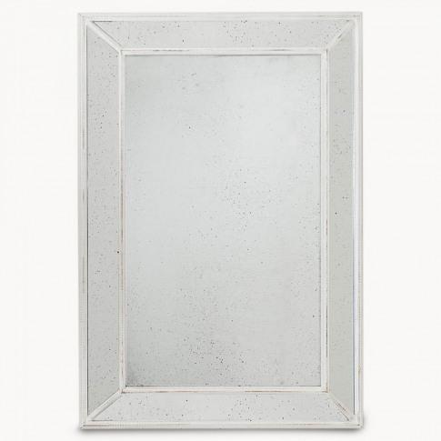 Wilton Distressed Glass White Mirror