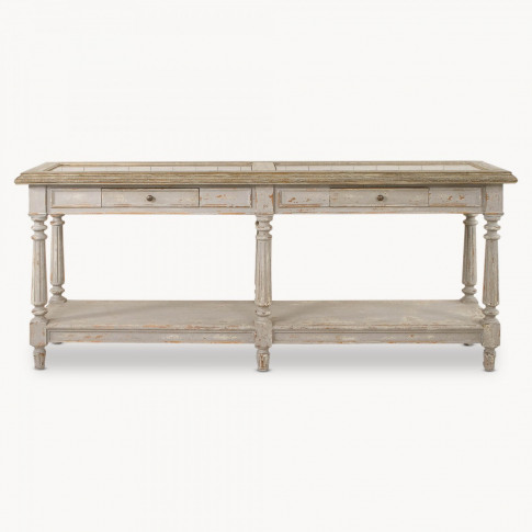 Woodcroft Colonial Grey Oak and Stone Top Console Table