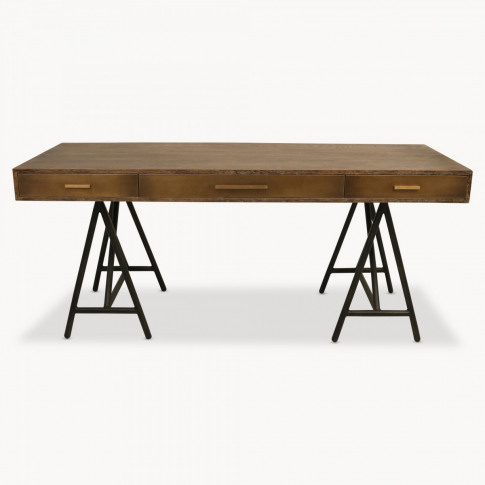 Woodcroft Retro Desk on Trestle Legs