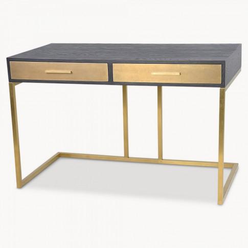 Woodcroft Ebony Wood and Brass Desk