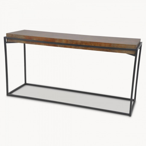 Woodcroft Elm Console Table with Rustic Black Iron F...