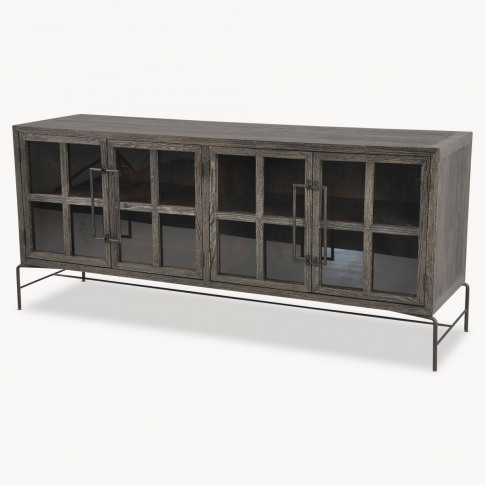 Woodcroft Glass Fronted Rustic Black Oak And Iron Sideboard