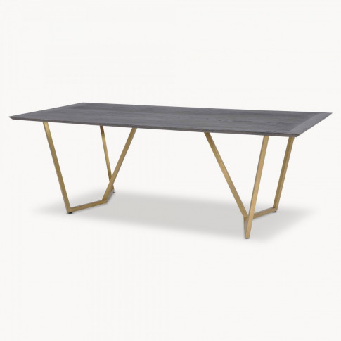 Woodcroft Oak and Brass Dining Table