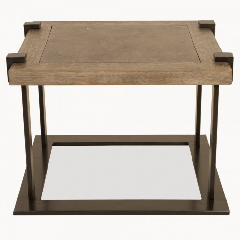 Woodcroft Oak and Iron Side Table with Stone Top
