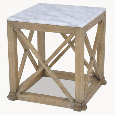 Woodcroft Oak and Marble Side Table