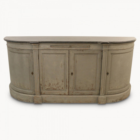 Woodcroft Rounded 4-Door Grey Sideboard with Stone Top