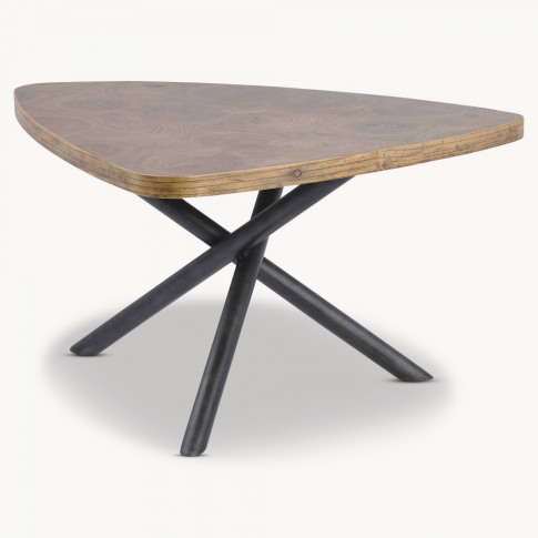 Woodcroft Small Elm Coffee Table with Rustic Black Legs