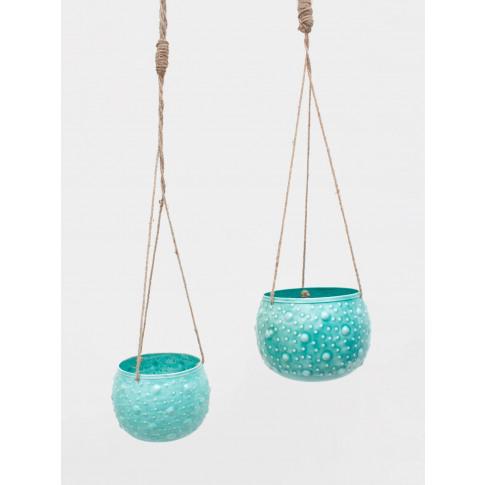 Bohemia Design   Enamel Hanging Planter, Aqua