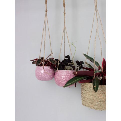 Bohemia Design   Enamel Hanging Planter, Lilac