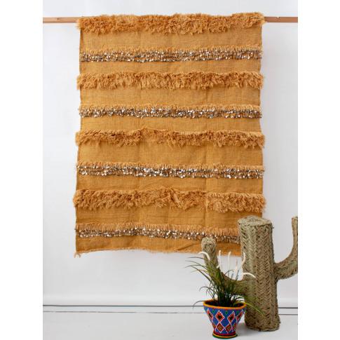 Bohemia Design   Moroccan Handira Blanket, Mustard