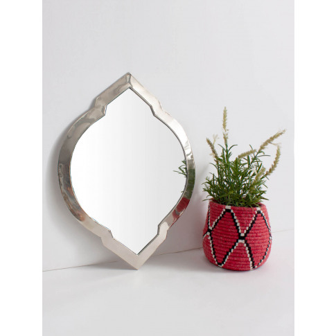 Bohemia Design | Moroccan Oval Tile Mirror, White Brass