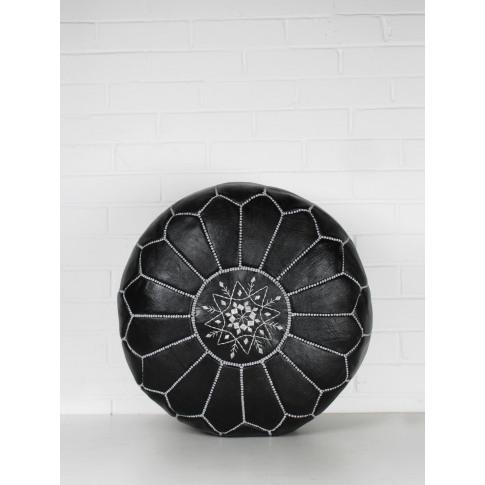Bohemia Design | Moroccan Leather Pouffe, Black And ...