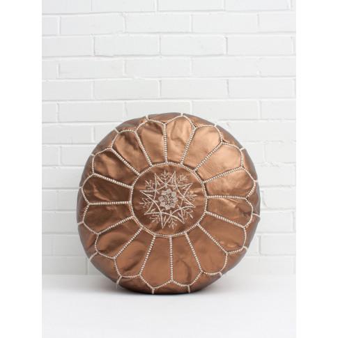 Bohemia Design | Moroccan Faux Leather Pouffe, Copper