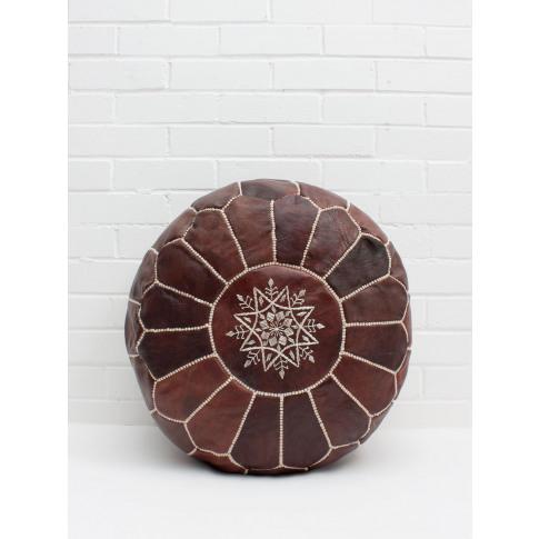 Bohemia Design | Moroccan Leather Pouffe, Chocolate ...