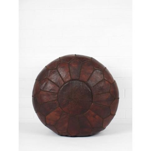 Bohemia Design | Moroccan Leather Pouffe, Dark Chocolate Oiled