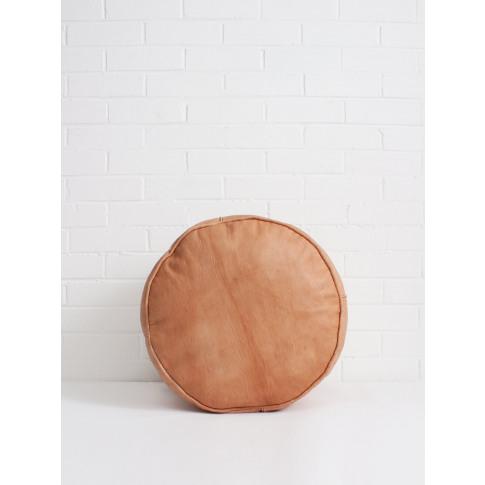 Bohemia Design | Moroccan Leather Plain Drum Pouffe,...