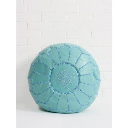 Bohemia Design | Moroccan Leather Pouffe, Duck Egg