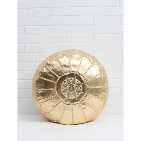 Bohemia Design | Moroccan Faux Leather Pouffe, Gold