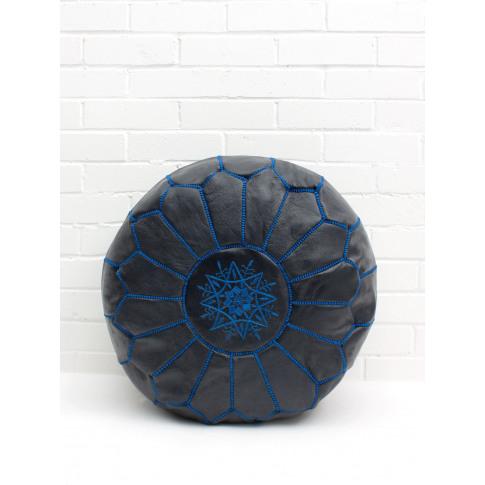 Bohemia Design | Moroccan Leather Pouffe, Indigo