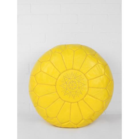 Bohemia Design | Moroccan Leather Pouffe, Lemon (Sli...