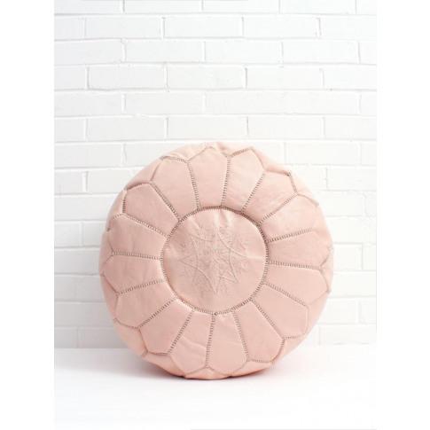 Bohemia Design | Moroccan Leather Pouffe, Soft Pink