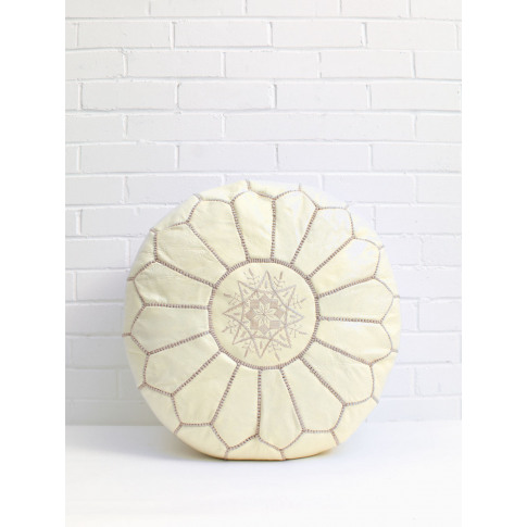 Bohemia Design | Moroccan Leather Pouffe, Pale Lemon