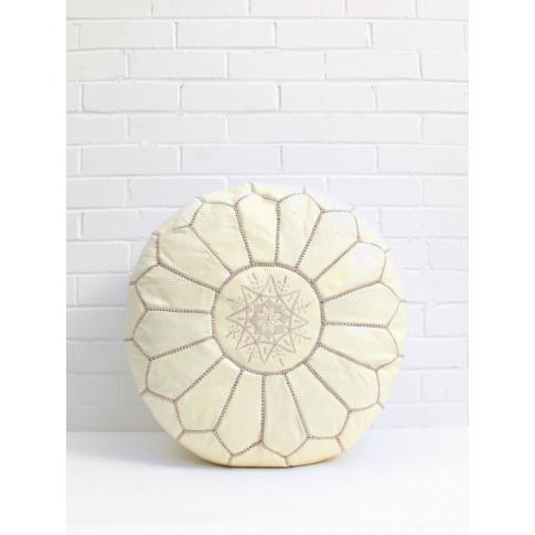Bohemia Design | Moroccan Leather Pouffe, Pale Lemon