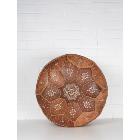Bohemia Design   Moroccan Leather Tile Pouffe, Tan