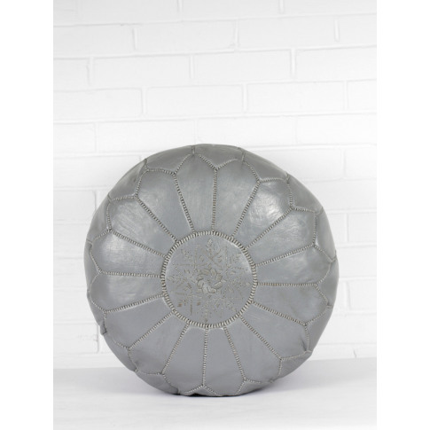 Bohemia Design | Moroccan Leather Pouffe, Slate Grey