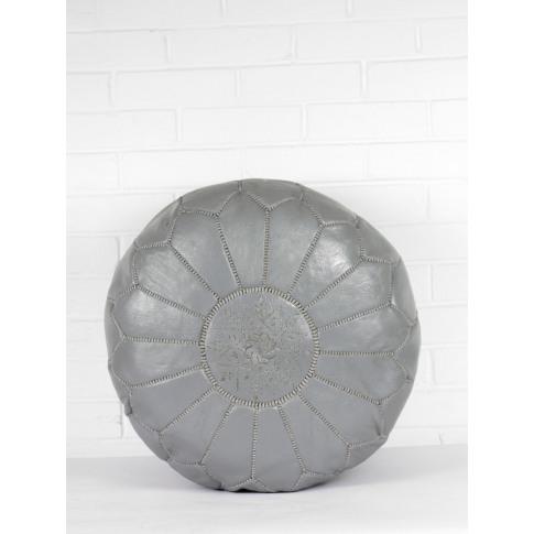 Bohemia Design | Moroccan Leather Pouffe, Slate Grey