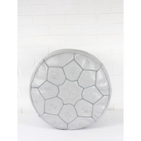 Bohemia Design | Moroccan Leather Tile Pouffe, Grey