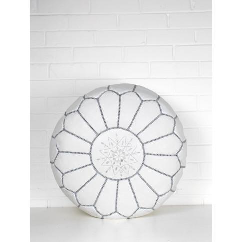 Bohemia Design | Moroccan Leather Pouffe, White And ...