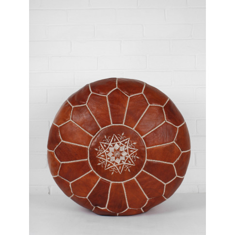 Bohemia Design | Moroccan Leather Pouffe, Chestnut