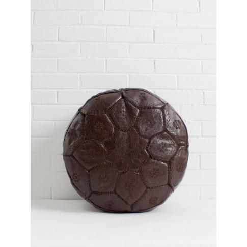 Bohemia Design | Moroccan Leather Tile Pouffe, Choco...