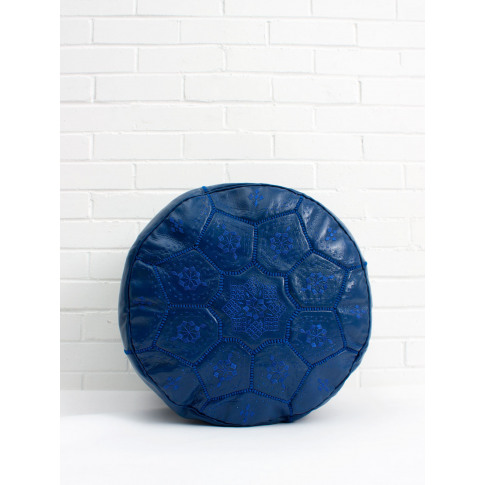 Bohemia Design | Moroccan Leather Tile Pouffe, Cobalt