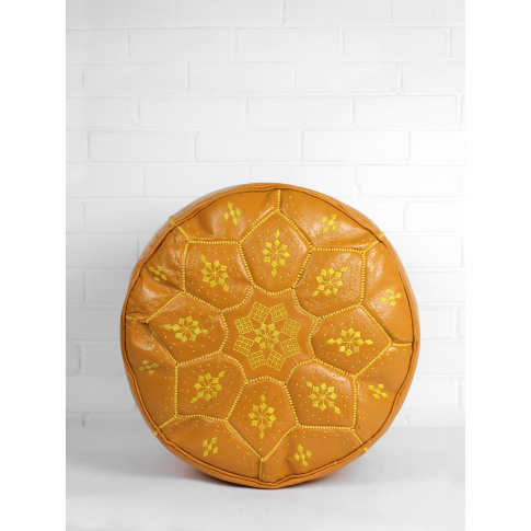 Bohemia Design | Moroccan Leather Tile Pouffe, Mustard