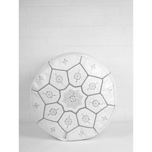 Bohemia Design | Moroccan Leather Tile Pouffe, White...