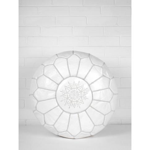 Bohemia Design | Moroccan Leather Pouffe, White