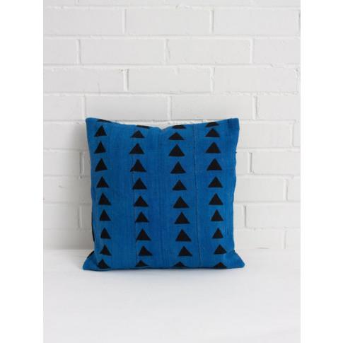 Bohemia Design   Mudcloth Cushions, Blue Triangle