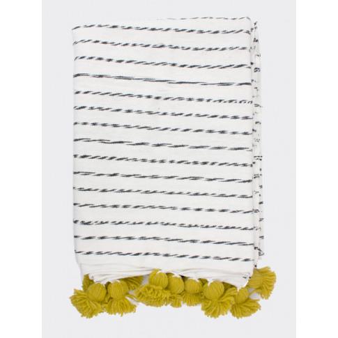 Bohemia Design | White Cotton Scribble Stripe Blanke...