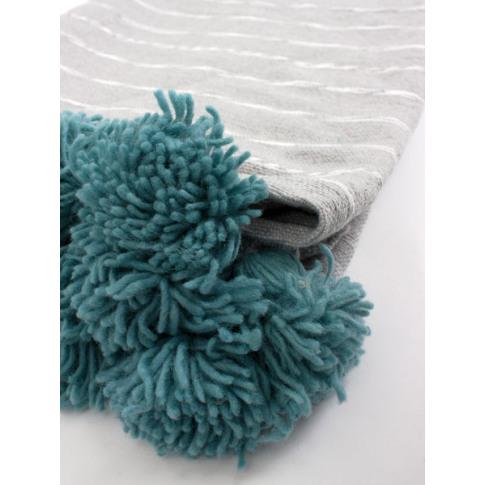Bohemia Design | Grey Cotton Scribble Stripe Blanket...