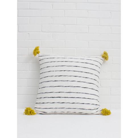 Bohemia Design | White Cotton Scribble Stripe Square...