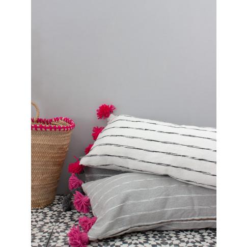 Bohemia Design | Grey Cotton Scribble Stripe Rectang...